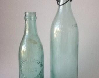Vintage Embossed Glass Bottles (Set of 2)