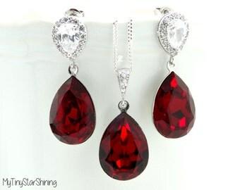 Red Earrings & Necklace Set Swarovski Crystal Siam Earrings Bridal Earrings Wedding Jewelry Wedding Earrings  cubic zirconia  Post Earrings