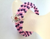 Bracelet Pink and Purple Pearl and Rocaille Memory Wire Cuff with Pink Rhinestone Flower Charm by JulieDeeleyJewellery on Etsy