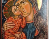 Mother of God with The Child Jesus. Eleousa Byzantine icon handpainted  Romanian icon Available the icon shown in the photos.