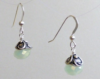 Milky Green Crystal Earrings with Swirled Pewter Caps
