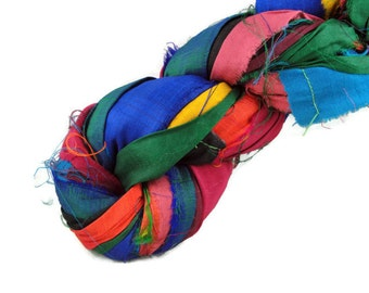 Recycled Sari Silk Ribbon Yarn, Sari Ribbon, Multicolor
