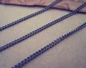 6.6ft (2m) Gunmetal color  necklace chain 1mmx2mm