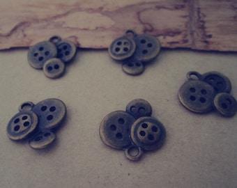 20pcs of Antique bronze button  Pendant charm 15mm