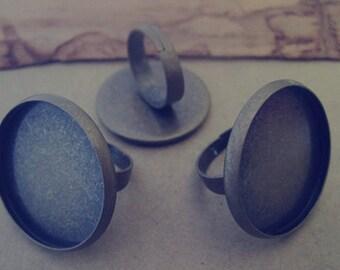 10 pcs antique bronze (copper) 25mm adjustable ring bases
