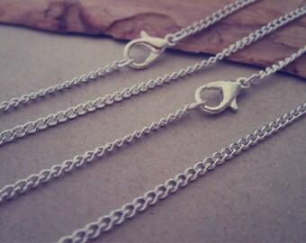 100pcs 70cm silver color necklace chain 2mmx3mm
