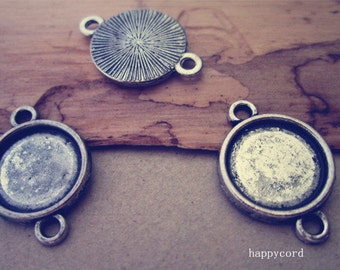 30pcs 12mm Antique silver Round Pendant Base tray