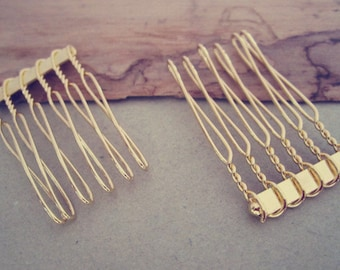 50 Pcs  22mmx35mm (6teeth)  gold color Hair Combs