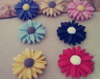 20pcs  Mixed color  sunflower Resin Flowers 26mm