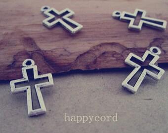 100pcs  Antique Silver Cross pendant charm 11mmx17mm