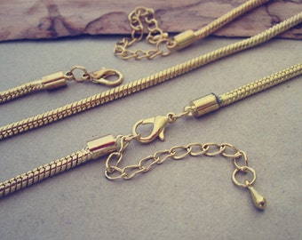 5pcs  18inche  gold color  snake chain necklace with lobster clasp  3mm