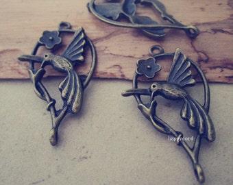 10pcs Antique bronze hummingbird pendant charm 20mmx35mm