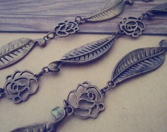 3.28ft  Fancy Antique Bronze leaves flower  Chain