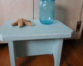 Shabby Distressed Pale Aqua Wood Footstool Plant Stand Vintage Chic Decor Accent Piece