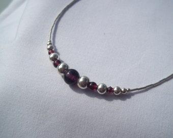 "Garnet & Sterling silver ""Arden"" necklace"