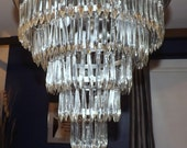 Vintage Waterfall Glass Crystal Ceiling Lamp Chandelier