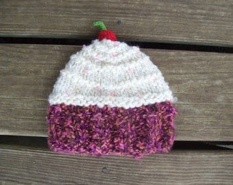 Cupcake,Hat,Photo Prop,Gift,Hand Knit,Girls,Babies,Infant,Baby,Infants,Shower,Newborn-3 months.