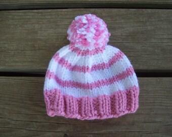 Pink,White,Hat,Babies,Girls,Newborn,Three Months,Photo Prop,Gift,Hand Knit,Winter,Infants
