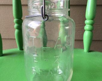 Vintage Atlas Quart Size Mason Jar with Glass Lid
