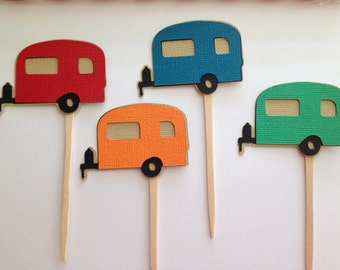 Trailer Cupcake Toppers Retirement Happy Trails (set of 12)