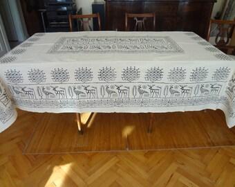 Handblocked LARGE  Rectangle tablecloth - OOAK - Cream