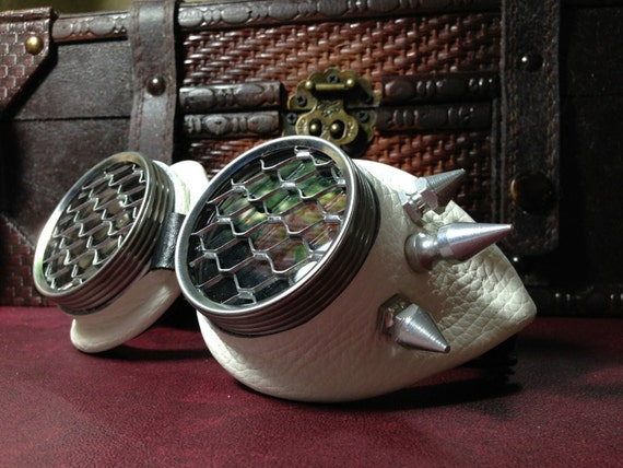 Steampunk goggles Antique white leather Stinger Spikes ...