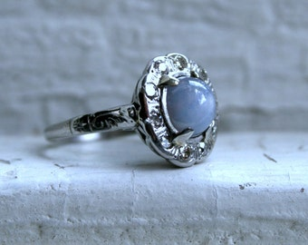 Victorian Star Sapphire and Diamond Engagement Ring in Platinum - 2.60ct.