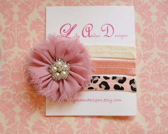Dusty rose flower with your choice of two bands/ Interchangeable headband/ baby headband