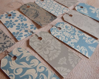 Victorian gift tags with strings dozen 12 damask