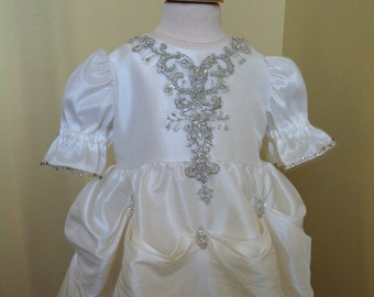 Wedding gown conversion to heirloom christening gown with pick-ups