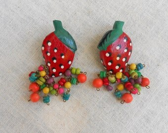 Vintage Wooden Strawberry Earrings with Colorful Dangles.