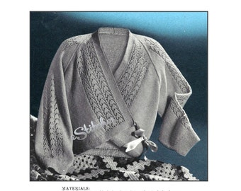 Vintage Cross Over Bedjacket or Sweater with Lace Accents - Knit pattern PDF 1496