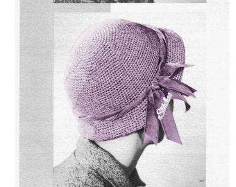 PDF Vintage Classic Cloche Hat with Brim Beginner - Crochet pattern PDF 0100