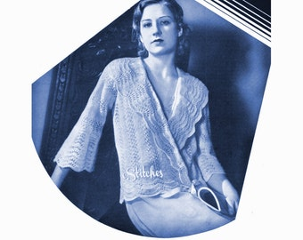 1930s Sweater or Bedjacket with Elbow Sleeves in Feather and Fan  - Knit pattern PDF 5350