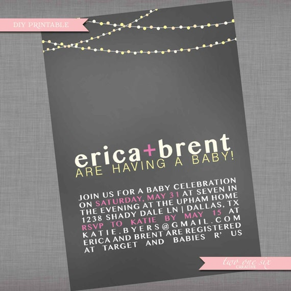coed baby shower invitation couples shower backyard string lights