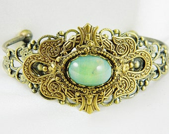 Cuff Bracelet, Filigree Bracelet, Jade Green, Filigree, Antique Brass