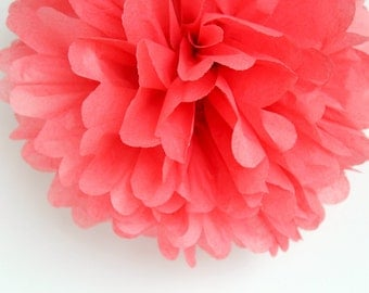 Island Pink Tissue Paper Pom Poms- Wedding, Birthday, Bridal Shower, Baby Shower, Party Decorations, Garden Party
