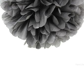 Dark Grey Tissue Paper Pom Poms- Wedding, Birthday, Bridal Shower, Baby Shower, Party Decorations, Garden Party