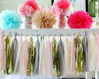 Light Pink, Grey, Cream, Gold Tissue Paper Tassel Garland- Wedding, Birthday, Bridal Shower, Baby Shower, Garden Party Decorations