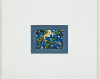 morning glory blue digital mini matted digital print