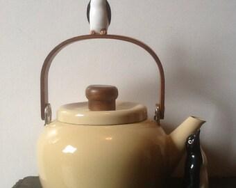 Enamel tea pot minimal mod MCM Kettle shabby farm rustic decor Mid Century