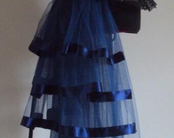 French Navy Blue Burlesque Steampunk Bustle Belt size US 2 4 6 8  10 UK 6 8 10 12 14