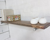 Jake Reclaimed Wood Shelf with Galvanised Steel Pipe Wall Brackets - made to order industrial furniture