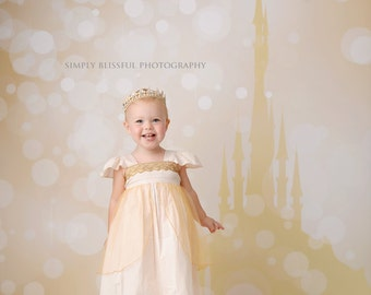 5ft x 5ft + Photography Backdrop - Princess Castle (Bokeh) Golden, Fairytale, Castle