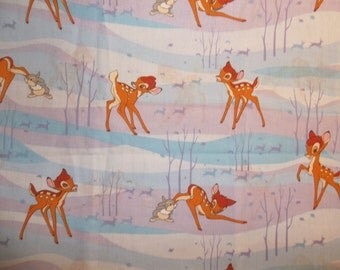 Vintage Bambi and Thumper Disney Bambi Cotton Fabric Pristine Condition