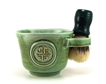 Celtic Knot Shaving Mug, Green Shave Cup Scottish, Irish, Celts - Brush NOT Included - Pottery Anniversary Husband Gift Ready to Ship