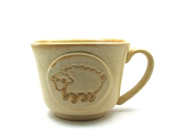 Sheep Mug:  Cream Ceramic Coffee or Tea Cup, Unique Pottery Gift for Her, Handmade Gifts by MiriHardyPottery - Ready to Ship