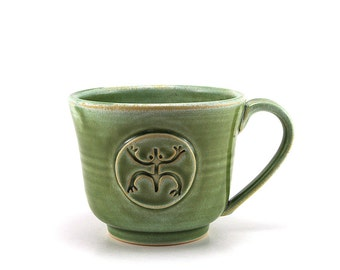 Coffee Mug with a Coqui, Green Frog Tea Cup, Handmade Taino Puerto Rico Rican Pottery Gift by MiriHardyPottery - Made to Order in 2-4 Weeks