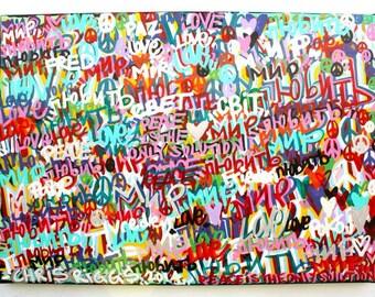 FREE SHIPPING Love and Peace street art word graffiti canvas peace russia usa ukraine eu original large painting