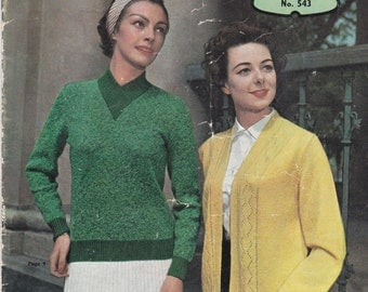 Paton's Knitting Pattern No 543 For Family Featuring Bouclon Kemtweed  (Vintage 1950s)